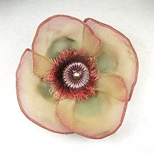 Poppy Pin with Fuzzy Center by Sarah Cavender (Metal Brooch)