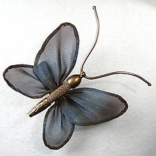 4-Winged Butterfly by Sarah Cavender (Metal Brooch)