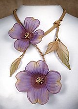 Dogwood Blooms Necklace by Sarah Cavender (Metal Necklace)