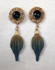 Stone and Leaf Dangle Earrings by Sarah Cavender (Metal Earrings)