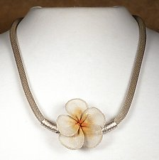 Plumeria Blossom Necklace by Sarah Cavender (Metal Necklace)