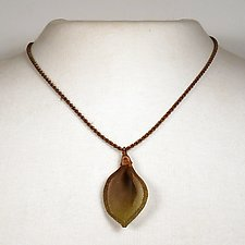 Tulip Petal Pendant on Thin Twisted Chain by Sarah Cavender (Metal Necklace)