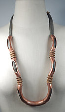Curved Copper Tube and Industrial Metal Necklace by Sarah Cavender (Silver & Copper Necklace)