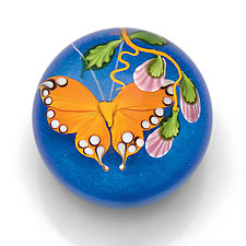 Orange Butterfly Paperweight by Mayauel Ward (Art Glass Paperweight)