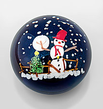 Snowman Paperweight by Mayauel Ward (Art Glass Paperweight)