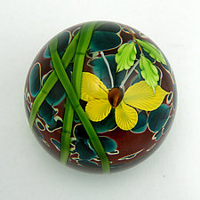 Bamboo and Butterfly Paperweight by Mayauel Ward (Art Glass Paperweight)