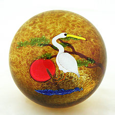 Crane Paperweight by Mayauel Ward (Art Glass Paperweight)