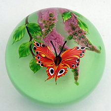 Orange Butterfly on Green by Mayauel Ward (Art Glass Paperweight)