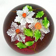 White Flowers on Ruby by Mayauel Ward (Art Glass Paperweight)
