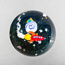 Rocket Ship Paperweight by Mayauel Ward (Art Glass Paperweight)