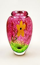 Yellow Flower on Ruby Vase by Mayauel Ward (Art Glass Vase)