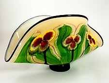 Floral Clam Vase by Mayauel Ward (Art Glass Vase)