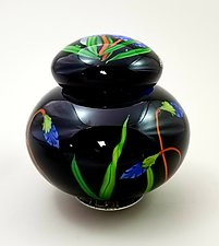 Black Lidded Jar by Mayauel Ward (Glass Vase)