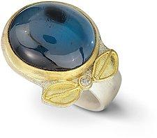 London Blue Topaz & Diamond Leaf Ring by Nancy Troske (Gold & Stone Ring)