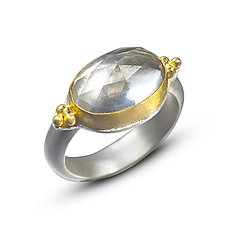 22k Gold & Rock Crystal Ring by Nancy Troske (Gold, Silver, & Stone Ring)