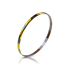 Bangle Bracelet with Dripped Gold by Nancy Troske (Gold & Silver Bracelet)