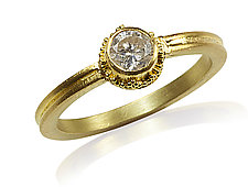 Diamond Engagement Ring in Ancient Inspired Setting by Nancy Troske (Gold & Stone Wedding Band)