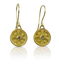 Granulated Gold & Diamond Earrings by Nancy Troske (Gold & Stone Earrings)