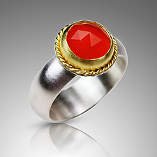 Rose Cut Carnelian Ring by Nancy Troske (Gold, Silver & Stone Ring)