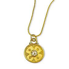 Champagne Diamond on Granulated Disk by Nancy Troske (Gold & Stone Necklace)