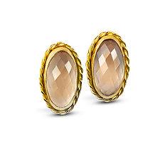 Smoky Pink Rose Quartz Earrings by Nancy Troske (Gold and Stone Earrings)