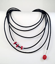 Fun with Coral II by Dagmara Costello (Rubber & Stone Necklace)
