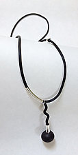 Black Onyx with a Little Twist by Dagmara Costello (Silver & Rubber Necklace)