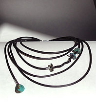 Turquoise with a Little Twist by Dagmara Costello (Stone & Rubber Necklace)