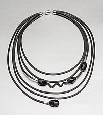 Playful Black Necklace by Dagmara Costello (Rubber & Stone Necklace)