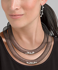 Double Fun Pearls in Net Necklace by Dagmara Costello (Pearl & Nylon Necklace)