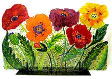 Wild Poppies by Anne Nye (Art Glass Sculpture)