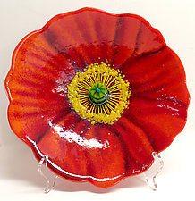 Red Poppy Bowl by Anne Nye (Art Glass Bowl)