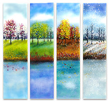 Four Seasons Glass Wall Art by Anne Nye (Art Glass Wall Sculpture)