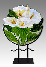 White Calla Lilies by Anne Nye (Art Glass Sculpture)