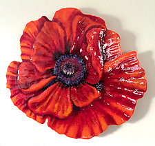Red Wall Poppy by Anne Nye (Art Glass Wall Sculpture)