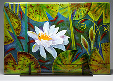 White Waterlily by Anne Nye (Art Glass Sculpture)
