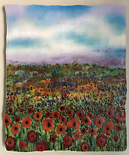 Poppy Fields by Anne Nye (Art Glass Wall Sculpture)