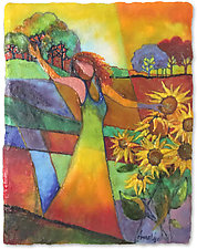 I Dream of Sunflowers by Anne Nye (Art Glass Wall Sculpture)