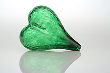 Blown Glass Heart in Green by Tom Bloyd (Art Glass Sculpture)