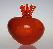 Awesome Blossom in Orange by Tom Bloyd (Art Glass Sculpture)