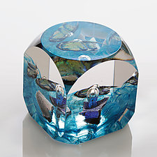 Blue Cube by Benjamin Silver (Art Glass Paperweight)