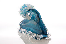 Caribbean Blue Wave by Benjamin Silver (Art Glass Sculpture)