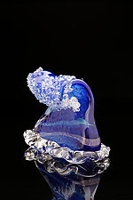 Deep Blue Wave by Benjamin Silver (Art Glass Sculpture)