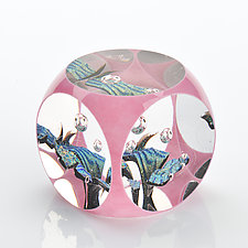 Pink Cube by Benjamin Silver (Art Glass Paperweight)