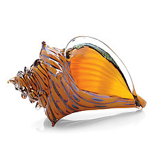 The Beach, Conch Shell by Benjamin Silver (Art Glass Sculpture)