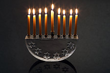 Six Star Hanukkah Menorah by Benjamin Silver (Art Glass Menorah)
