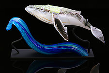 Whale and Wave by Benjamin Silver (Art Glass Sculpture)