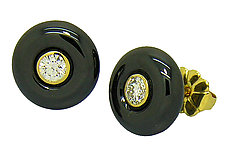 Ceramique Diamond Stud Earrings by Etienne Perret (Gold, Diamond & Ceramic Earrings)