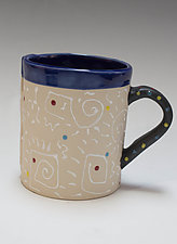 Small Double White Squiggle Mug by Vaughan Nelson (Ceramic Mug)