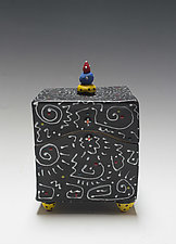 Black and White Squiggle Box by Vaughan Nelson (Ceramic Box)